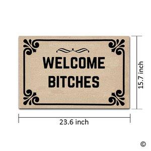 Image 3 - Entrance Doormat Welcome Bitches Indoor Outdoor Door Mat Non slip Doormat 23.6 by 15.7 Inch Machine Washable Non woven Fabric