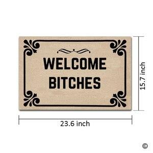 Image 3 - Paillasson dentrée bienvenue chiennes intérieur extérieur tapis de porte antidérapant paillasson 23.6 par 15.7 pouce lavable en Machine Non tissé