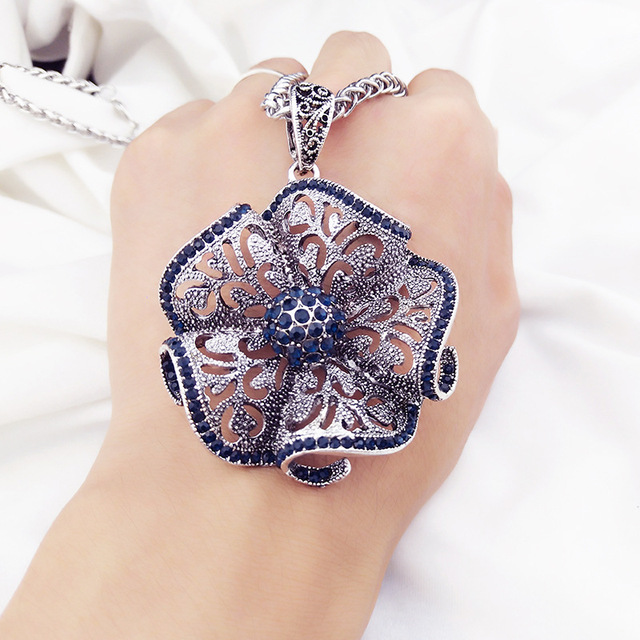 Jewellery Christmas Gifts Part - 19: Vintage Flower Long Pendant Necklace Women New Fashion Jewelry Wholesale  Sweater Necklaces Christmas Gifts