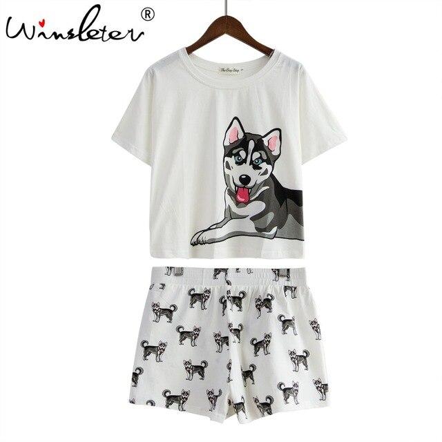 ddc43cb3d Dog Print Women Pajamas Husky Print White Loose Top Elastic Waist ...