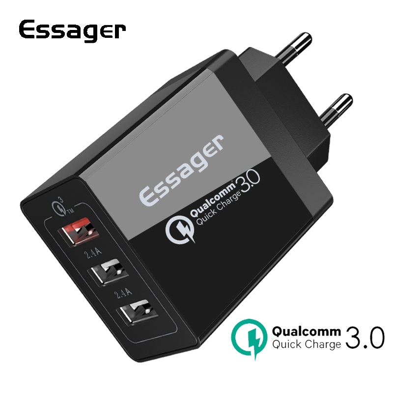 Essager Quick Charge 3.0 3 USB Charger 30W QC 3.0 Fast Charging USB Wall Charger For iPhon