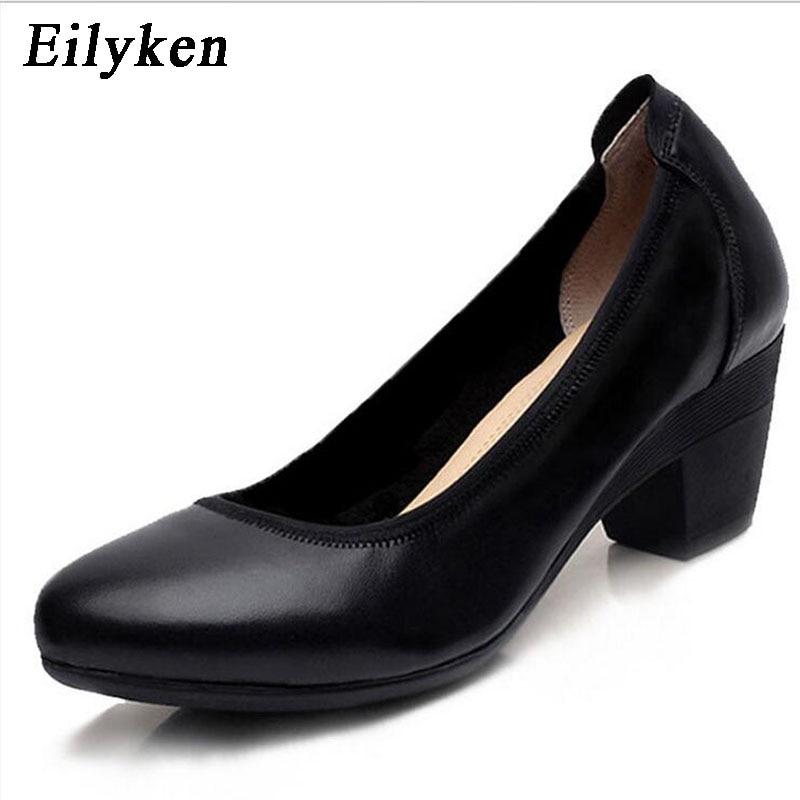 Eilyken Super Soft & Flexible Pumps Shoes Women OL Pumps Spring Mid Heels Offical Comfortable Shoes Size 34-43