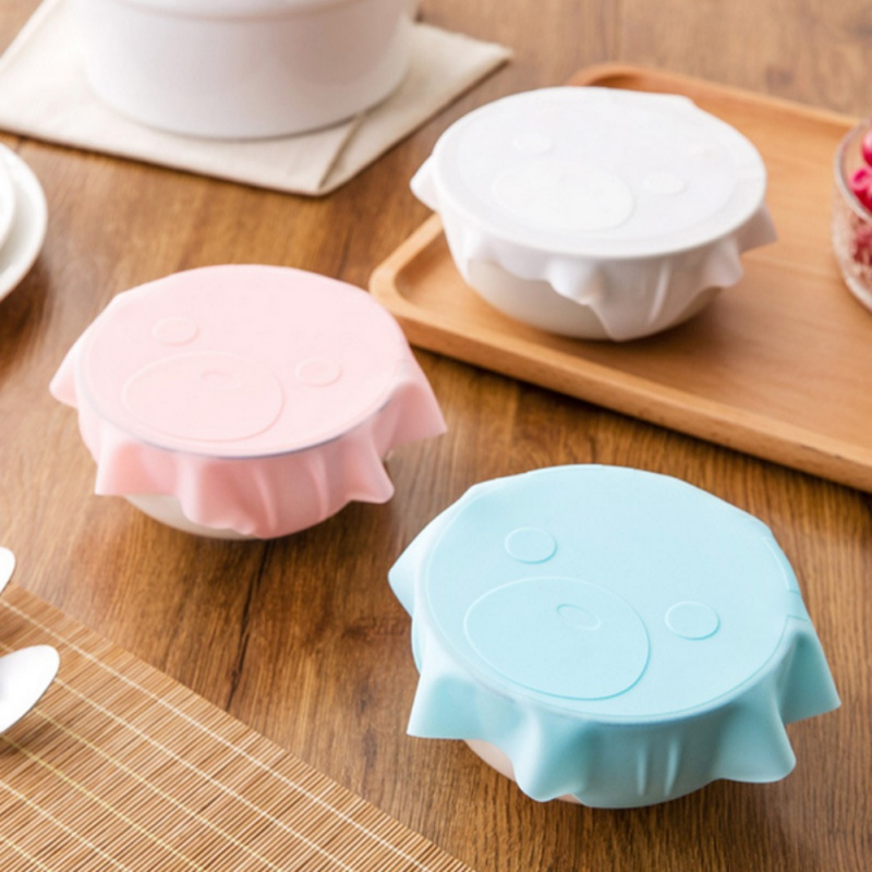 Cartoon Pattern Stretch Silicone Lid Reusable Fresh keeping Food Storage Covers Fit Various Sizes And Shapes Of Containers-in Fresh-keeping Lids from Home & Garden
