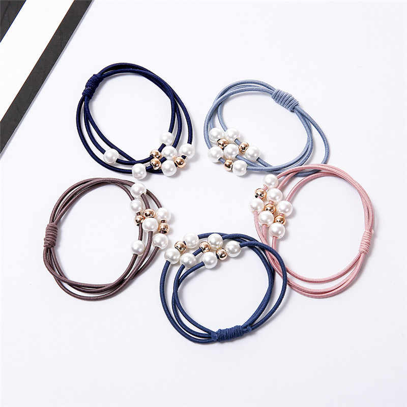 Princess Ponytail Holder Gum For Hair Scrunchies Headband Rubber Band Girls Sweet Pearl Elastic Hair Bands Kids Hair Accessories