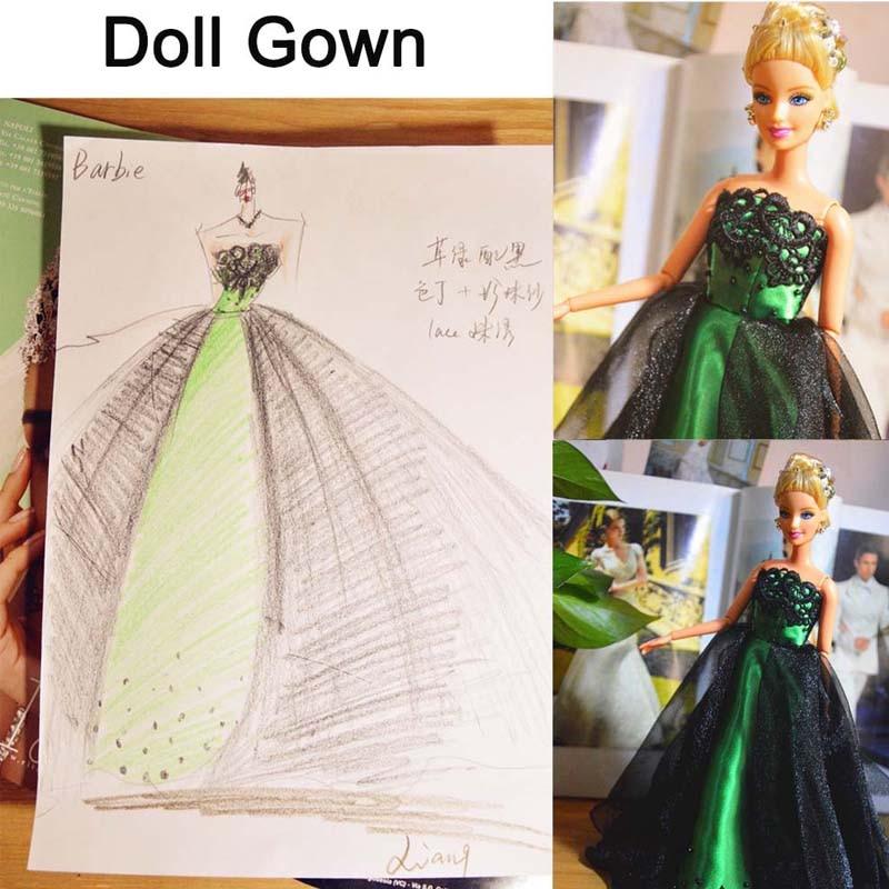 2016 Dolls Accessories Unique Style Luxurious Evening Princess Dress ...