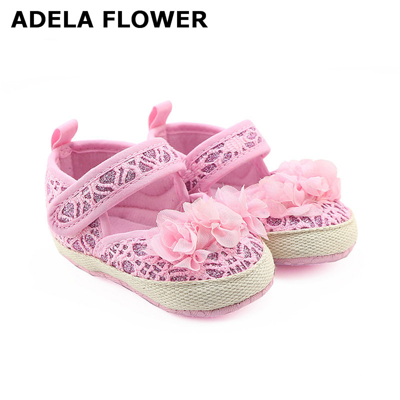 ADELA FLOWER Newborn Baby Shoes Girls Summer Autumn Style Knitting Flower Soft Soled Prewalker Princess Shoes sapatilha infantil