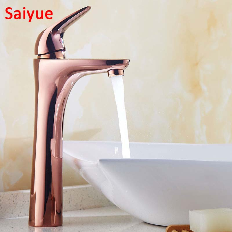Long Simple Rose Gold Single Handle Hot & Cold Water Brass Bath Kitchen Faucet Basin para banheiro Sink Mixer Tap Torneira micoe hot and cold water basin faucet mixer single handle single hole modern style chrome tap square multi function m hc203
