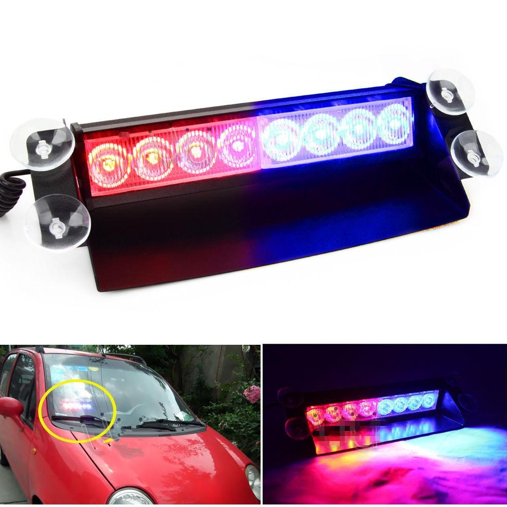 CYAN SOIL BAY New Car 8 LED Red/Blue Police Strobe Flash Light Dash Emergency Flashing Light