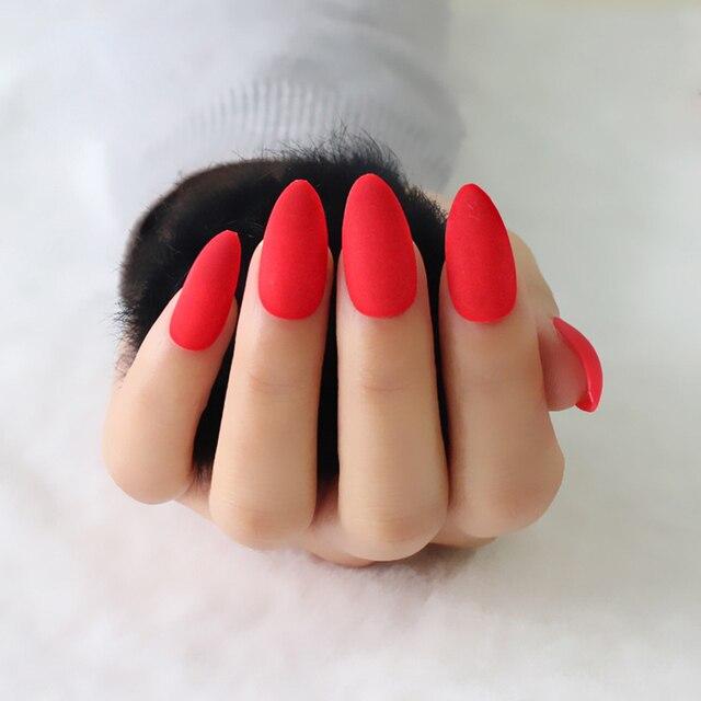 24pcs/set Pure Red Nail Tips full cover Matte Fake Nail Art Sharp ...