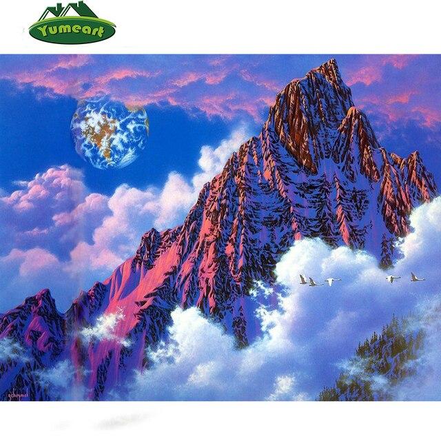 Artesanía nuevo 3D DIY diamante pintura nieve montaña nube paisaje ...