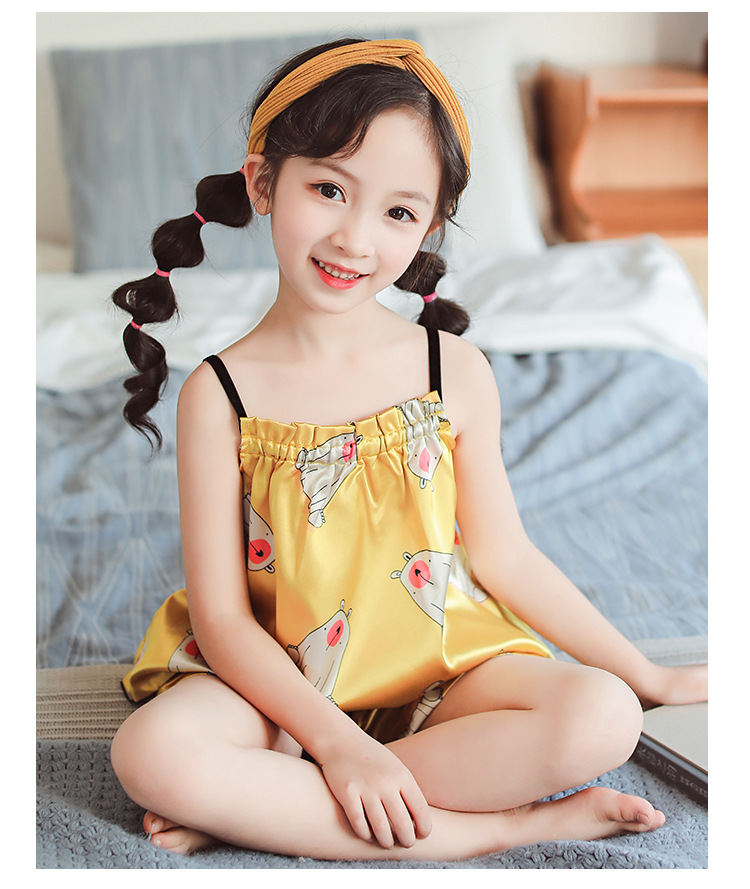 Silk Kids Pajamas Sets Summer Children Pajamas For Girls 2019 Cartoon Girl Sleepwear Teenager Pyjamas Clothing