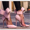 European Fashion Sexy Large Size Women Pumps Big Bow Pointed Toe Suede High Heels Shoes Side Open Pink Sweet High-heeled Shoes