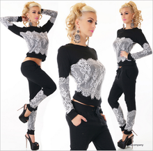 2017 New Crop Top And Skirt Set Women's Casual Suit Fashion Lace Stitching Long-sleeved T-shirt + Trousers Two Sets Of Women
