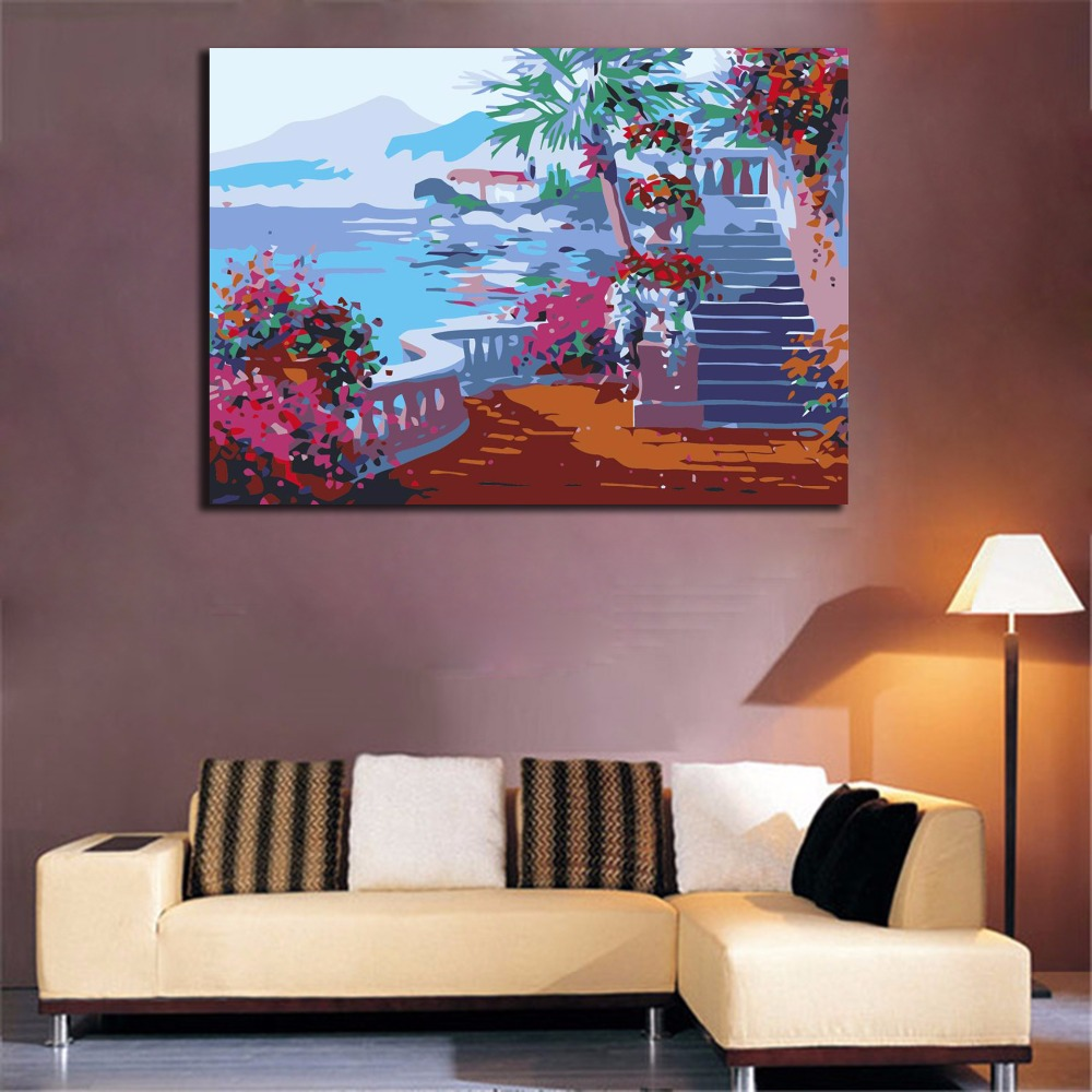 Diy oil painting By Numbers Frameless Paint Seaside ...