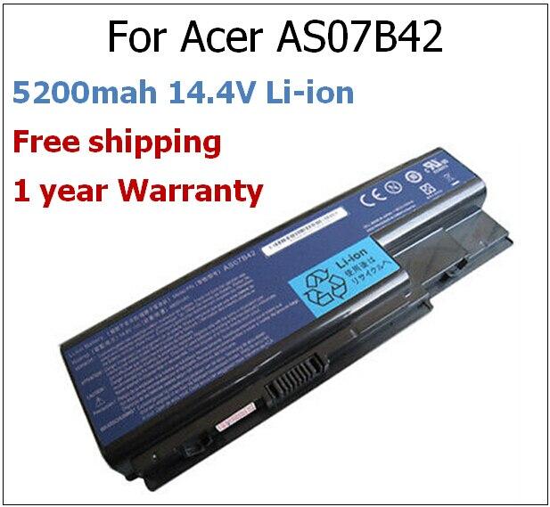 5200mah 14.4V AS07B42 laptop battery for Acer AS07B31 AS07B32 AS07B41 AS07B42 AS07B51 AS07B52 AS07B71 AS07B72 5220 5310 5320 voennoplennye v shaxterske 31 07 2014
