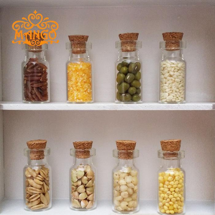 Kitchen accessories 1:12 Dollhouse mini Furniture Miniature Dry glass bottle grain 4pcs/lot Free shipping