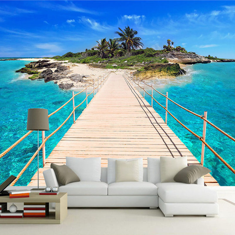 Custom Photo Wall Paper Island Wooden Bridge 3D Landscape Painting Background Wall Decor ...