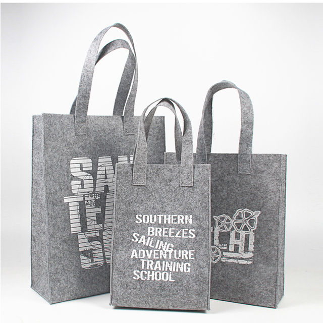 e73326a30c Wholesale 500pcs lot Hot sale Recycled Felt Fabric shopping bags with  handle customized print logo