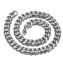 12/15/17mm 7-40inch High quality Stainless Steel Link Silver Cuban Curb Chain Mens Boys Necklace Or Bracelet Jewelry Xmas Gift