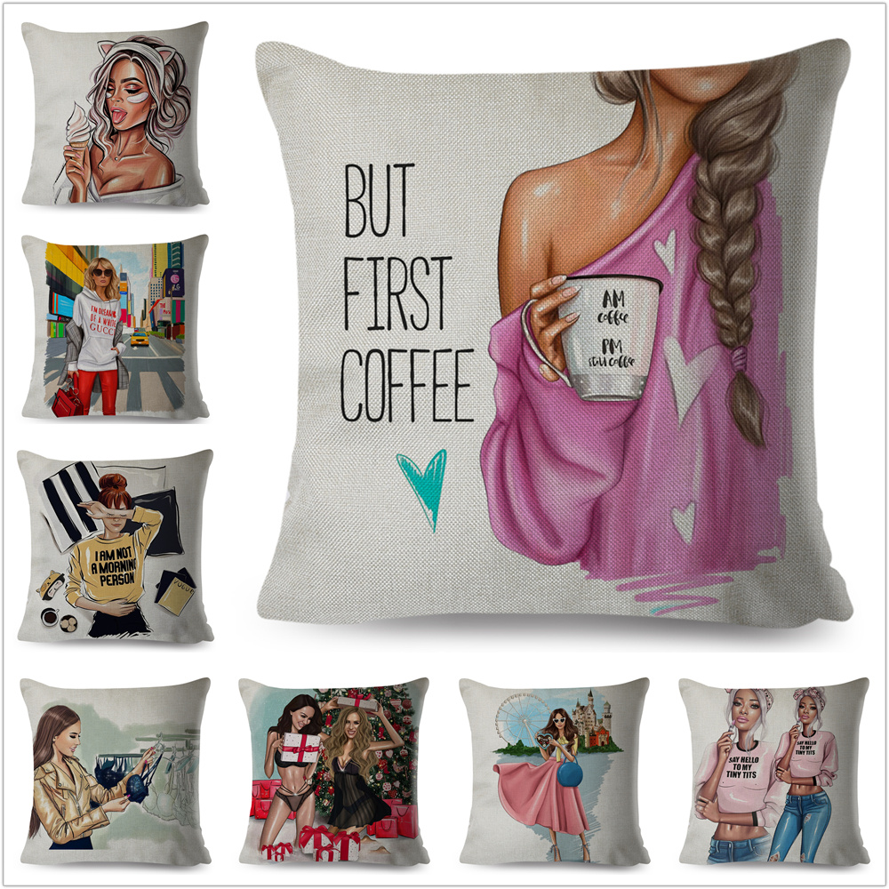 BUT FIRST COFFEE Super Sexy Cartoon Girl Pillow Case