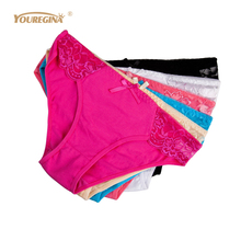 YOUREGINA Cotton Briefs Women Pink Underwear Woman Panties Seamless Braga Sexy Culotte Femme Lace 6 pcs/lot