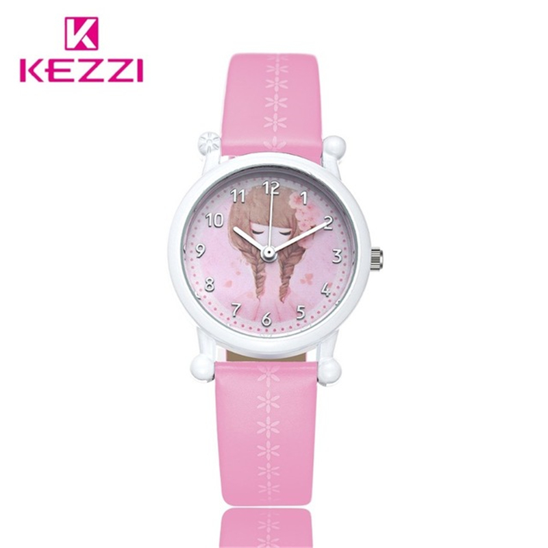 Kezzi children watch brand leather strap wristwatches student casual quartz watch for girl boy for Watches brands for girl