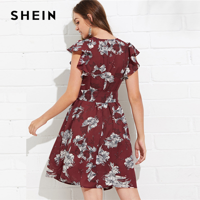 9f4457bdfc2f SHEIN Multicolor Vacation Bohemian Beach Flutter Sleeve Self Belted Floral Round  Neck Natural Waist Dress Summer Casual Dresses -in Dresses from Women s ...