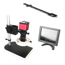 цена на 8X-130X C-Mount lens Remote contorl 13MP 720P 60FPS HDMI VGA industry digital video microscope camera+8LCD Monitor display