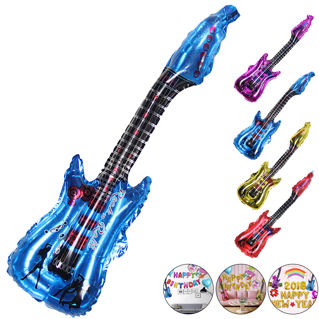 Straightforward 4 Colors 1pcs/lot 85x30cm Cartoon Guitar Balloons Inflatable Air Globo Party Supplies Kids Toys Birthday Ballon Classic Toys Event & Party Home & Garden