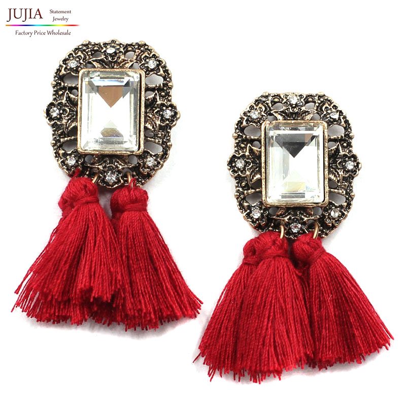 product 7 color hot sael earring fashion women crysta vintage tassel statement stud Earrings for women jewelry Factory Price