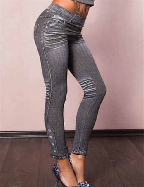 One Size Leggings Jeans Mid Waist Ankle-Length Solid Fashion Feminina Legins Jeans For Women Seamless Slim Leggings Women T2418 2