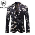 Fire Kirin Men Blazer Designs 2017 High Quality Men's Fashion Blazers Luxury Mens Printed Blazer Stage Costumes For Singers Q201