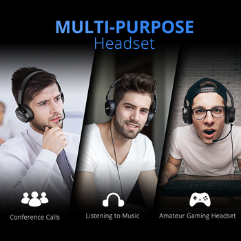 Mpow PA071 Wired Headphones Headset With Noise Reduction Sound Card 3.5mm/ USB Plug Earphone For Skype Call Center PC Phones Pad