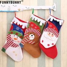 FUNNYBUNNY Portable Cute Xmas Gift Bags Santa Claus Snowman Bear Stocking Christmas Ornaments Home Party Decor