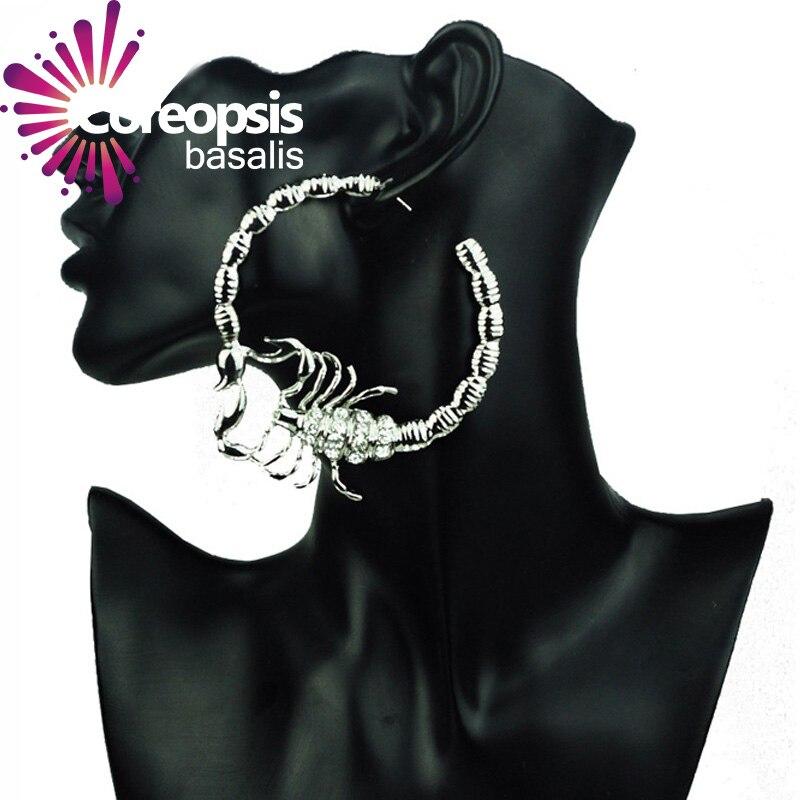 Scorpion shape round hoop earrings for women gold silver ...