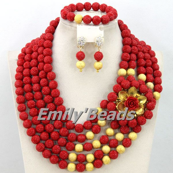 Nigerian Red Beads Jewelry Sets African Costume Wedding Coral Beads Jewelry Set Party Woman Jewelry Sets Free Shipping CJ385 costume african red coral beads necklace bracelet earrings jewelry set nigerian wedding jewelry sets free shipping cj240