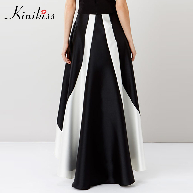 Kinikiss Women Two Tone A-Line Skirts Asymmetric Floor-Length Black White Umbrella Skirt Ladies Party Elegant Long Skirts