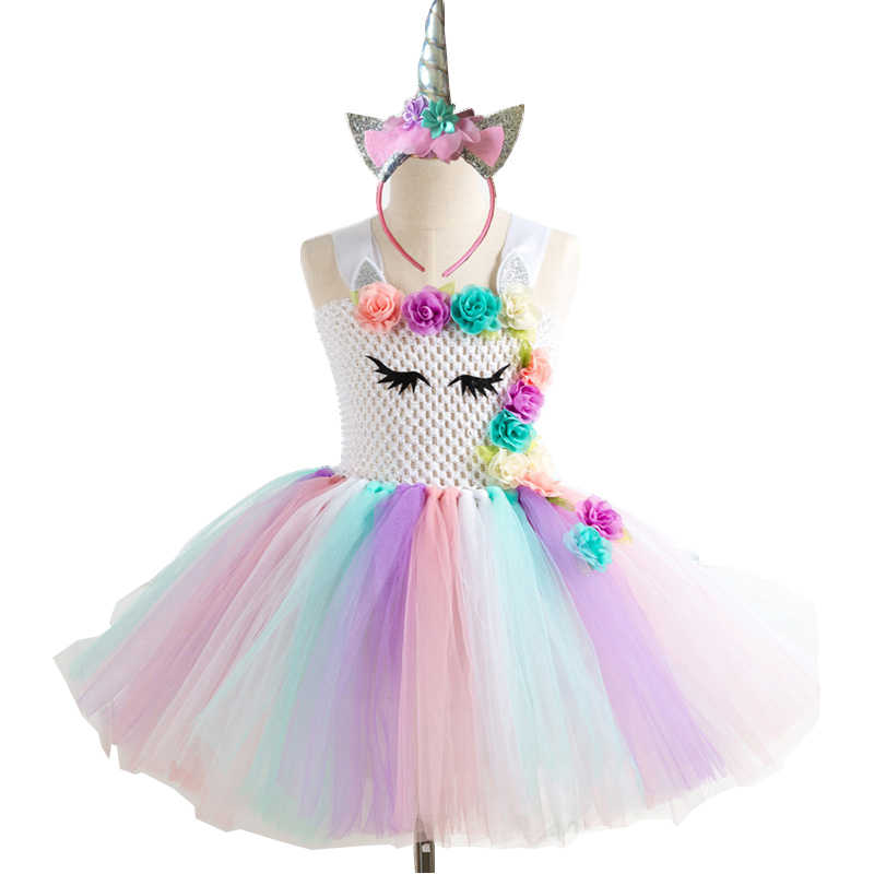 Ragazze Vestito Unicorno Costume Arcobaleno Tutu Della Principessa Festa di Compleanno Costume Cosplay Vestito Dei Capretti Dei Bambini di Halloween di Carnevale Unicorn Vestiti