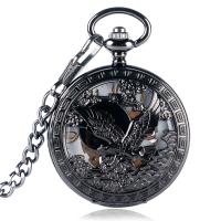 Women Fashion Black Chain Pocket Watch Gift Vintage Hawk Pendant Cool Skeleton Hand Winding Hollow Mechanical