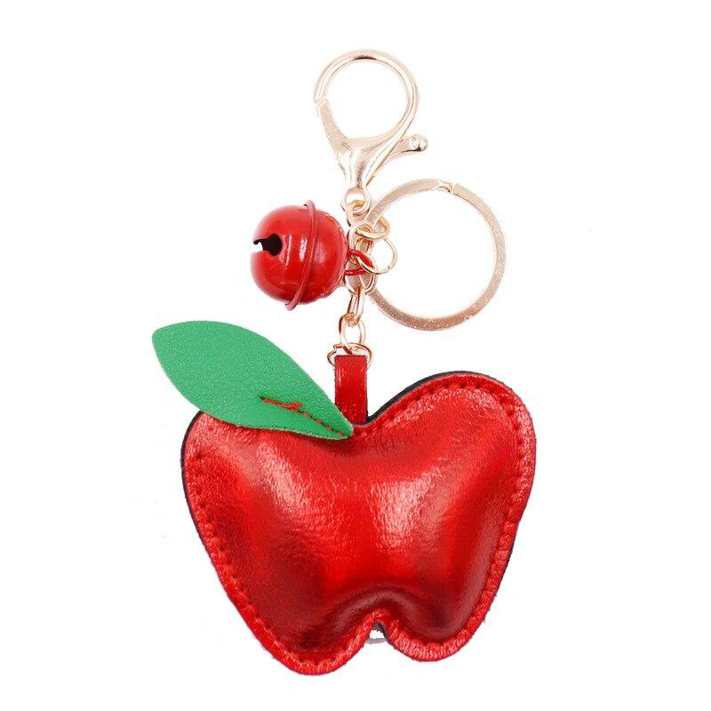 New Keychain PU Leather Bag Pendant Creative Gifts Apple Keychain Key Ring Trinket Car Key Ring Car Key Ring