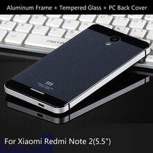 Для Xiaomi Редми Примечание 2 Телефон Случаях Роскошные Алюминиевая Рама, закаленное Стекло и ПК задняя крышка батареи для Xiaomi Редми Примечание
