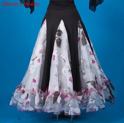 Бальные Танцевальные юбки Новая мода печать широкая юбка для женщин латинские танцы Вальс Танго соревнования тренировочные костюмы
