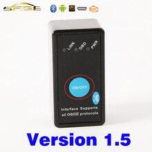 V1.5 Bluetooth ON/OFF Interruptor MINI ELM327 OBD2/OBDII ELM 327 Versión de Unión 1.5 Escáner Herramienta de Diagnóstico Auto