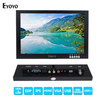 Eyoyo 10 inch IPS EDP CCTV Monitors HD 1920x1200 FHD Display LCD Monitor Video Audio input with VGA HDMI BNC USB Interface EYOYO