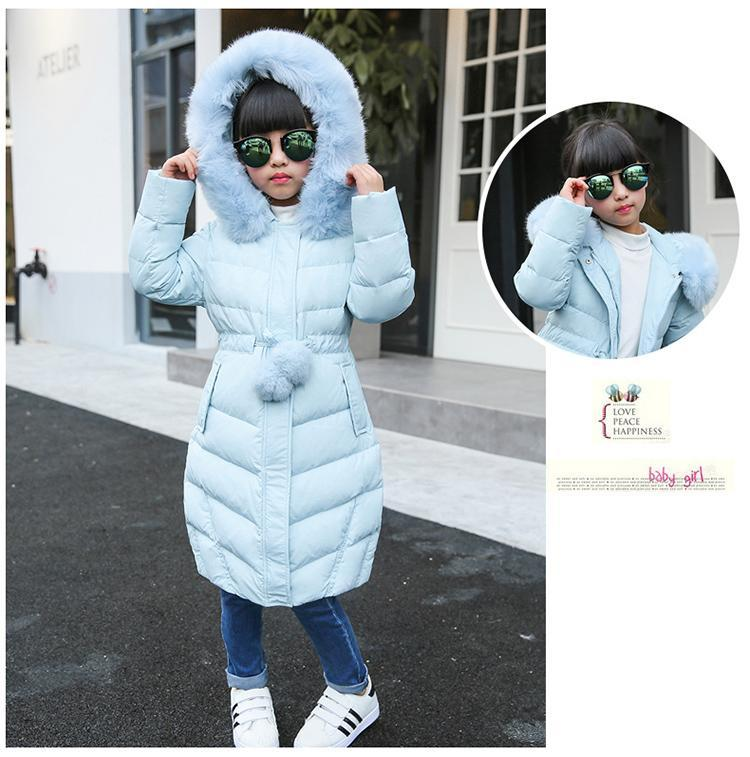 -30 degree Children Down jacket for Jackets Girls clothes Child Long Heavy hair collar thickening Collect waist Coat parka