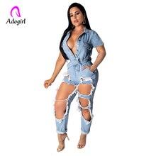 2019 Summer Women Fashion Denim Jumpsuit Ladies Distressed Short Sleeve Jeans Ro