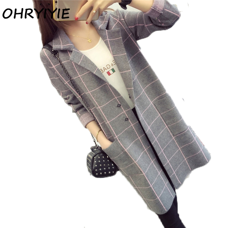OHRYIYIE High Quality Long Cardigan Women Sweater 2017 New Autumn Winter Long Sleeve Knitted Plaid Cardigans