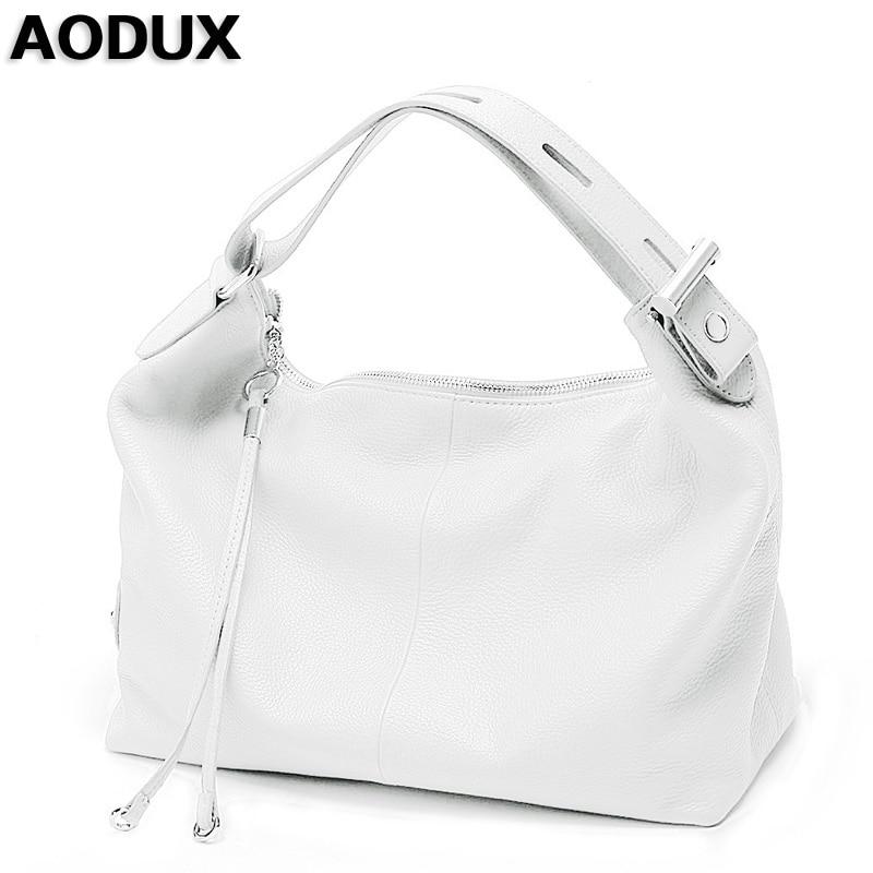 AODUX Female Ladies Soft Genuine Leather Women Shoulder Bags OL Style Tote Bag Designer Lady Handbag