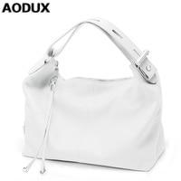 AODUX женские мягкие сумки из натуральной кожи, женские сумки на плечо, OL стиль, сумка-тоут, дизайнерская женская сумка, сумка-портфель белого/ч...