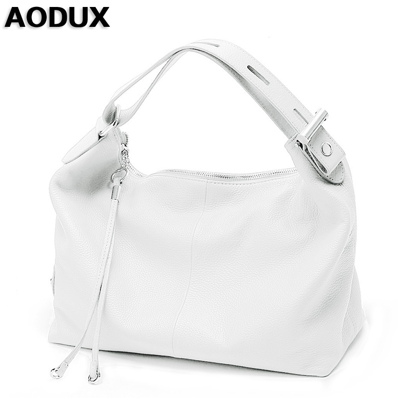 AODUX Female Ladies Soft Genuine Leather Women Shoulder Bags OL Style Tote Bag Designer Lady Handbag Satchel White/Dark Blue/Red стоимость